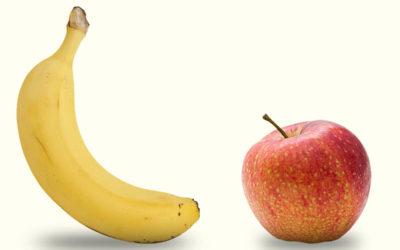 Desafio nutritivo: banana x maçã